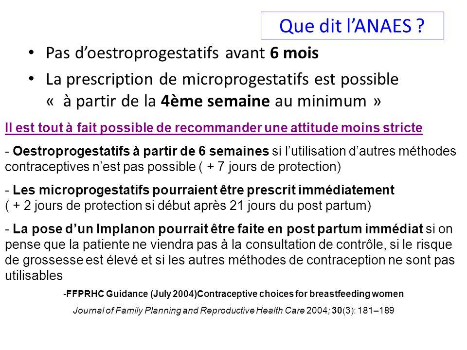 Que dit lANAES ? Pas doestroprogestatifs avant 6 mois La prescription de microprogestatifs est possible « à partir de la 4ème semaine au minimum » Il