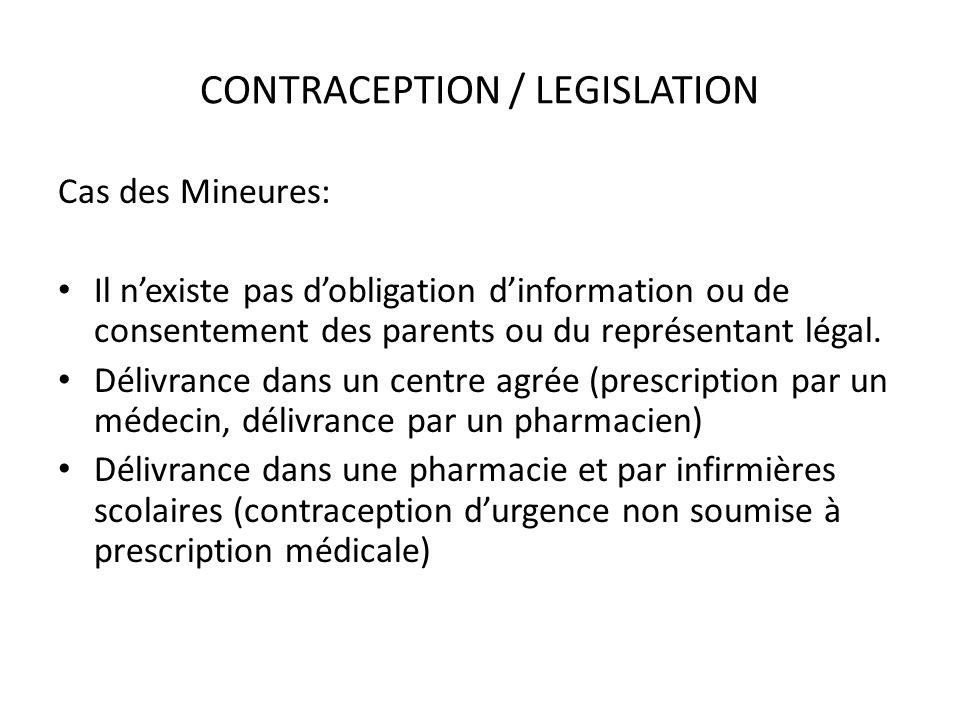 CONTRACEPTION / LEGISLATION Cas des Mineures: Il nexiste pas dobligation dinformation ou de consentement des parents ou du représentant légal. Délivra