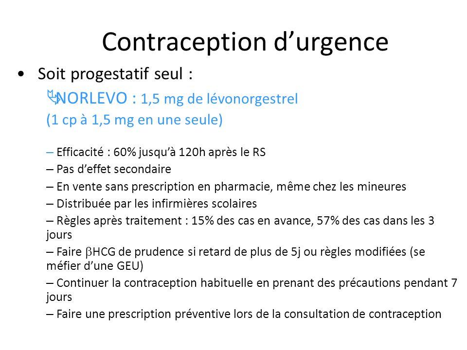Contraception durgence Soit progestatif seul : NORLEVO : 1,5 mg de lévonorgestrel (1 cp à 1,5 mg en une seule) – Efficacité : 60% jusquà 120h après le