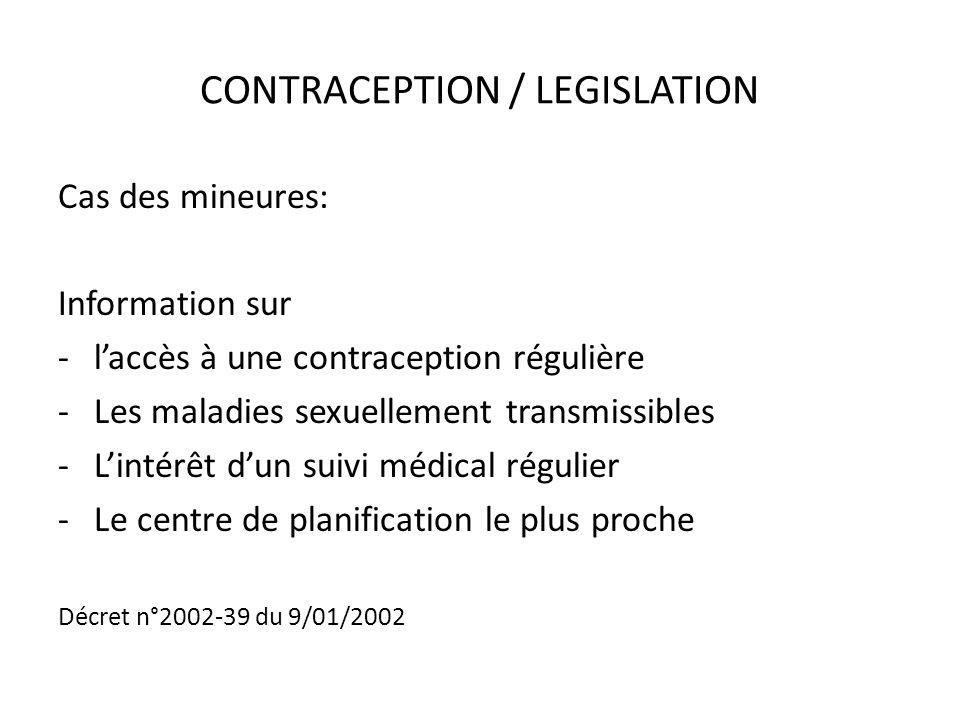 CONTRACEPTION / LEGISLATION Cas des mineures: Information sur -laccès à une contraception régulière -Les maladies sexuellement transmissibles -Lintérê