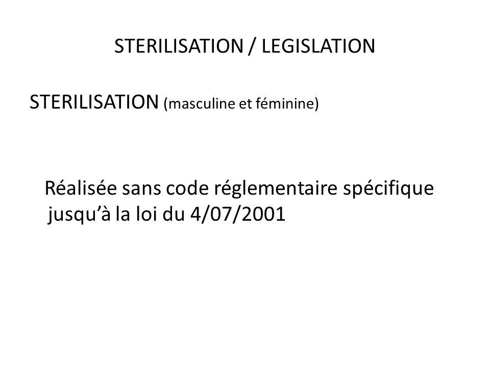 STERILISATION / LEGISLATION STERILISATION (masculine et féminine) Réalisée sans code réglementaire spécifique jusquà la loi du 4/07/2001