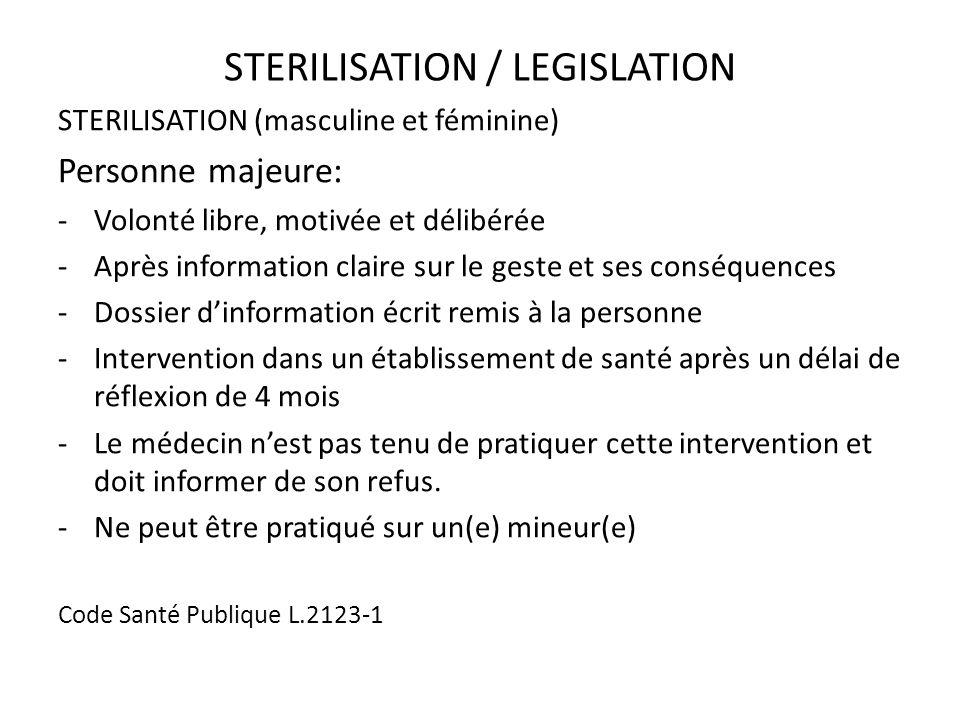 STERILISATION / LEGISLATION STERILISATION (masculine et féminine) Personne majeure: -Volonté libre, motivée et délibérée -Après information claire sur