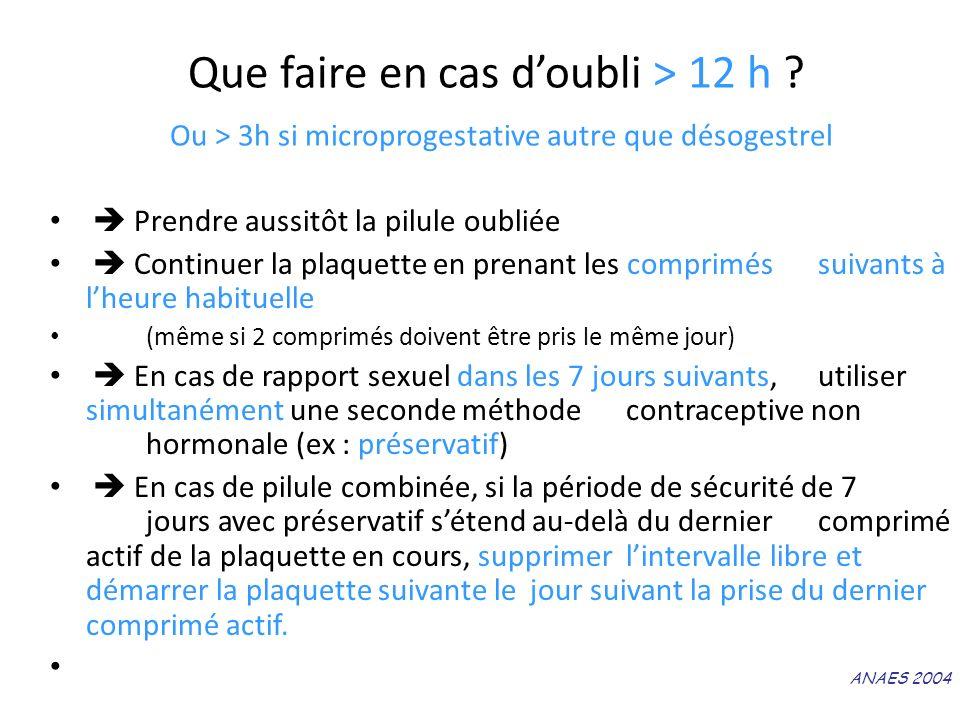 Que faire en cas doubli > 12 h ? Ou > 3h si microprogestative autre que désogestrel Prendre aussitôt la pilule oubliée Continuer la plaquette en prena