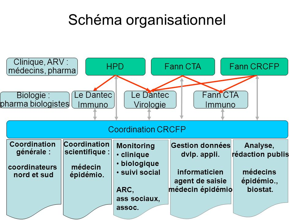 Schéma organisationnel Fann CTAHPDFann CRCFP Le Dantec Virologie Monitoring clinique biologique suivi social ARC, ass sociaux, assoc. Coordination CRC