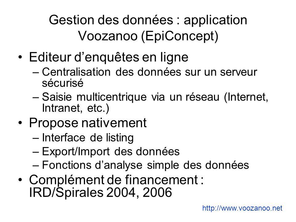 Gestion des données : application Voozanoo (EpiConcept) Editeur denquêtes en ligne –Centralisation des données sur un serveur sécurisé –Saisie multice