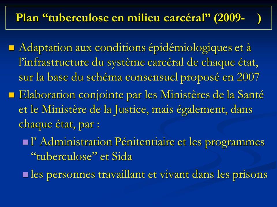 Plan tuberculose en milieu carcéral (2009- ) Adaptation aux conditions épidémiologiques et à linfrastructure du système carcéral de chaque état, sur la base du schéma consensuel proposé en 2007 Adaptation aux conditions épidémiologiques et à linfrastructure du système carcéral de chaque état, sur la base du schéma consensuel proposé en 2007 Elaboration conjointe par les Ministères de la Santé et le Ministère de la Justice, mais également, dans chaque état, par : Elaboration conjointe par les Ministères de la Santé et le Ministère de la Justice, mais également, dans chaque état, par : l Administration Pénitentiaire et les programmes tuberculose et Sida l Administration Pénitentiaire et les programmes tuberculose et Sida les personnes travaillant et vivant dans les prisons les personnes travaillant et vivant dans les prisons
