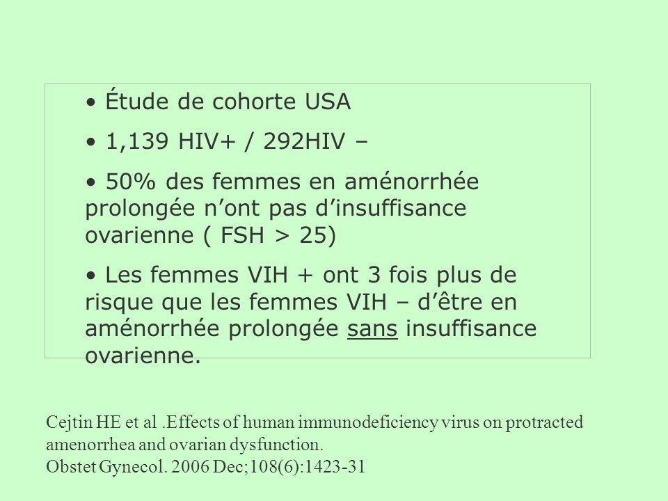 Cejtin HE et al.Effects of human immunodeficiency virus on protracted amenorrhea and ovarian dysfunction. Obstet Gynecol. 2006 Dec;108(6):1423-31 Étud