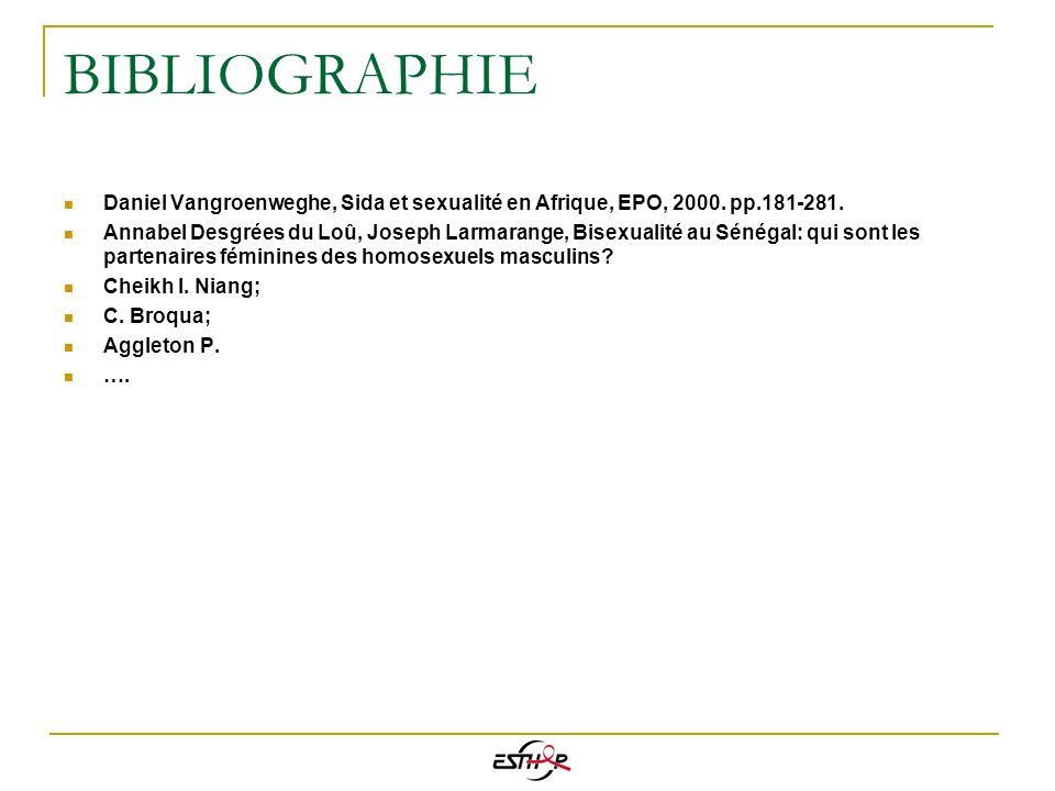BIBLIOGRAPHIE Daniel Vangroenweghe, Sida et sexualité en Afrique, EPO, 2000. pp.181-281. Annabel Desgrées du Loû, Joseph Larmarange, Bisexualité au Sé