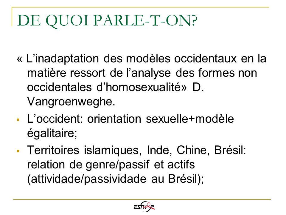 DE QUOI PARLE-T-ON? « Linadaptation des modèles occidentaux en la matière ressort de lanalyse des formes non occidentales dhomosexualité» D. Vangroenw