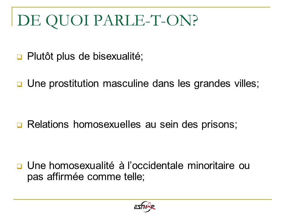 DE QUOI PARLE-T-ON? Plutôt plus de bisexualité; Une prostitution masculine dans les grandes villes; Relations homosexuelles au sein des prisons; Une h