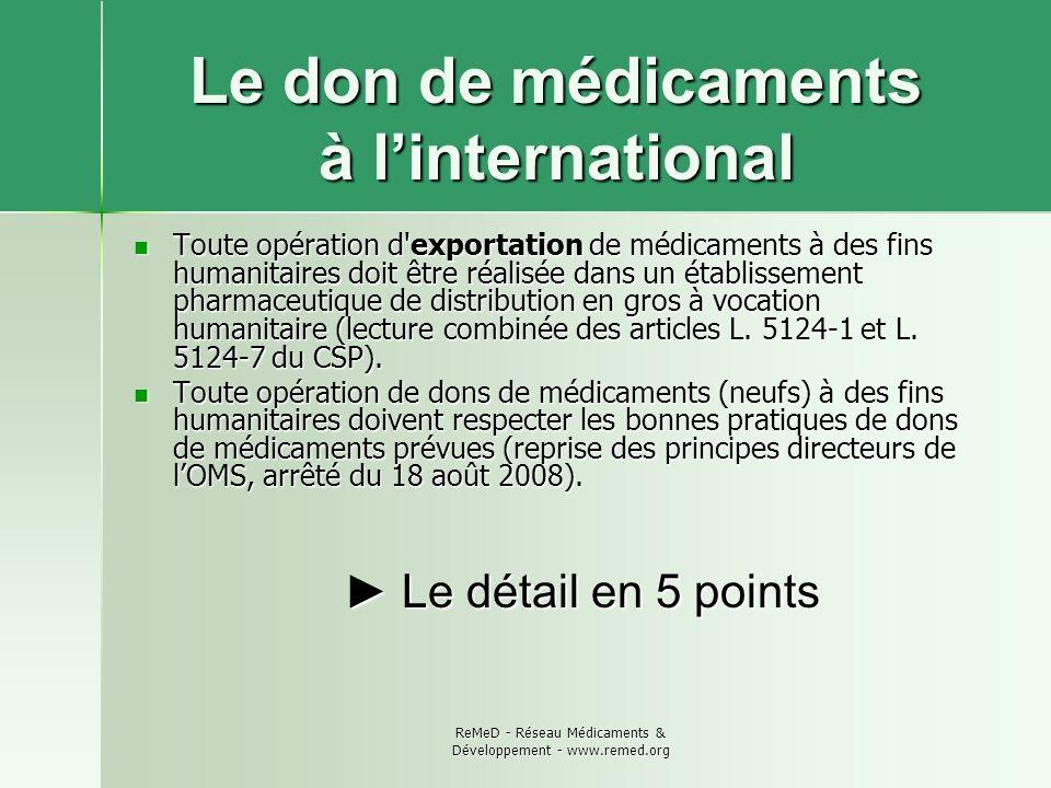 ReMeD - Réseau Médicaments & Développement - www.remed.org Le don de médicaments à linternational Toute opération d'exportation de médicaments à des f