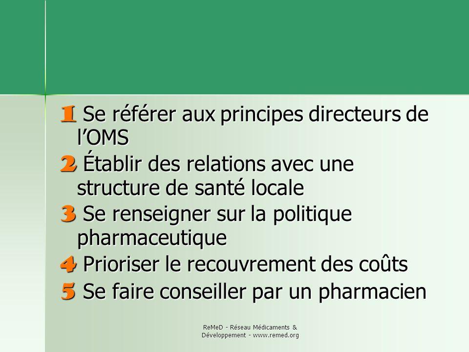 ReMeD - Réseau Médicaments & Développement - www.remed.org 1 Se référer aux principes directeurs de lOMS 2 Établir des relations avec une structure de