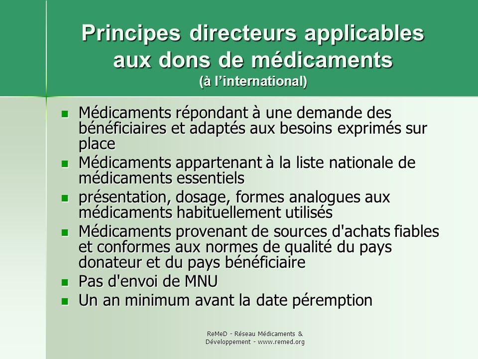 ReMeD - Réseau Médicaments & Développement - www.remed.org Principes directeurs applicables aux dons de médicaments (à linternational) Médicaments rép
