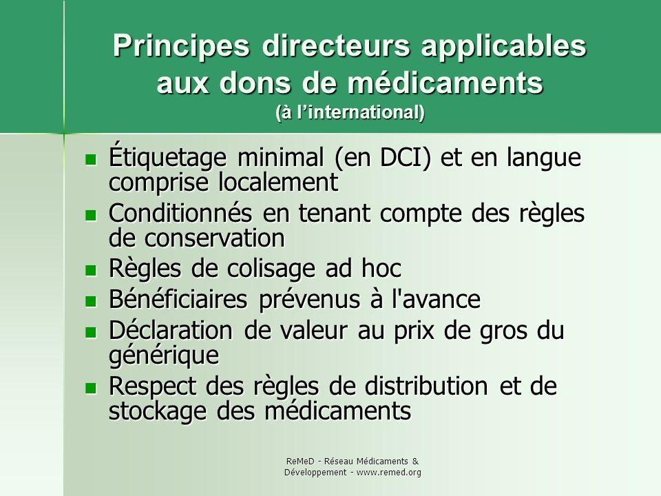 ReMeD - Réseau Médicaments & Développement - www.remed.org Principes directeurs applicables aux dons de médicaments (à linternational) Étiquetage mini