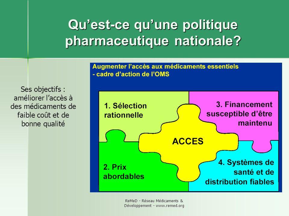 ReMeD - Réseau Médicaments & Développement - www.remed.org Quest-ce quune politique pharmaceutique nationale? Ses objectifs : améliorer laccès à des m
