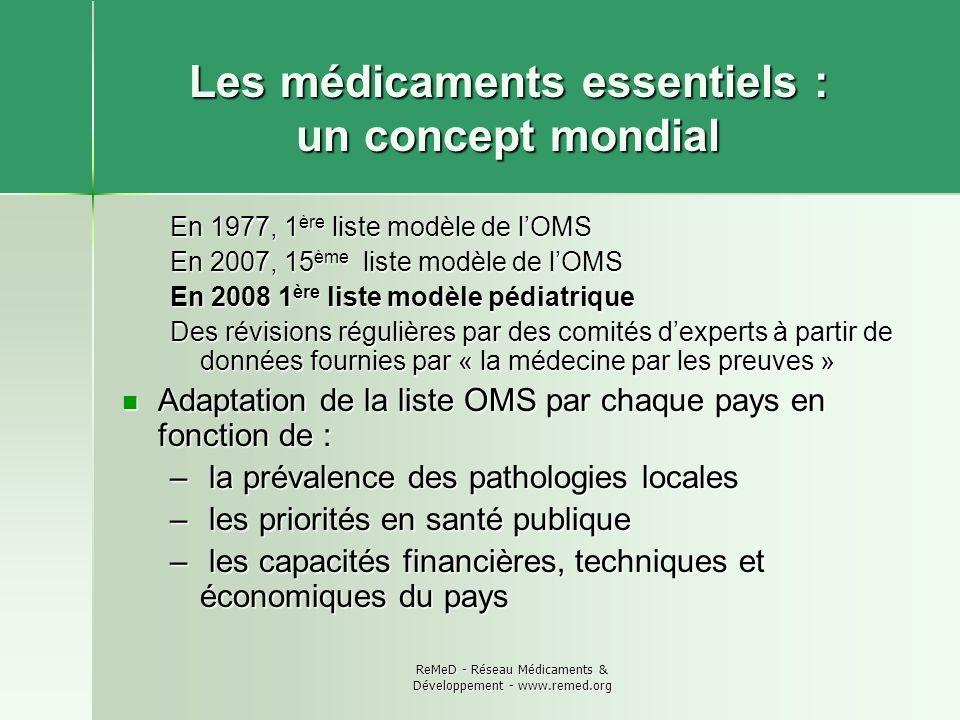 ReMeD - Réseau Médicaments & Développement - www.remed.org Les médicaments essentiels : un concept mondial En 1977, 1 ère liste modèle de lOMS En 2007
