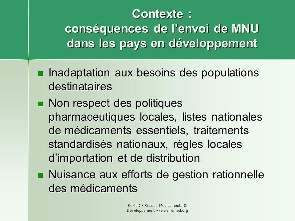 ReMeD - Réseau Médicaments & Développement - www.remed.org Contexte : conséquences de lenvoi de MNU dans les pays en développement Inadaptation aux be