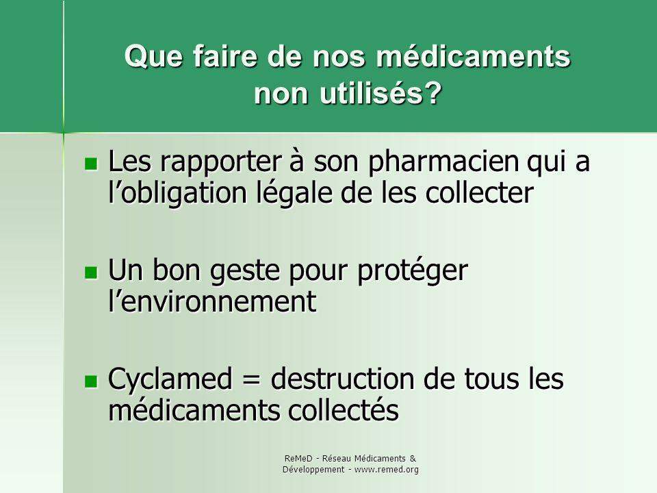 ReMeD - Réseau Médicaments & Développement - www.remed.org Que faire de nos médicaments non utilisés? Les rapporter à son pharmacien qui a lobligation