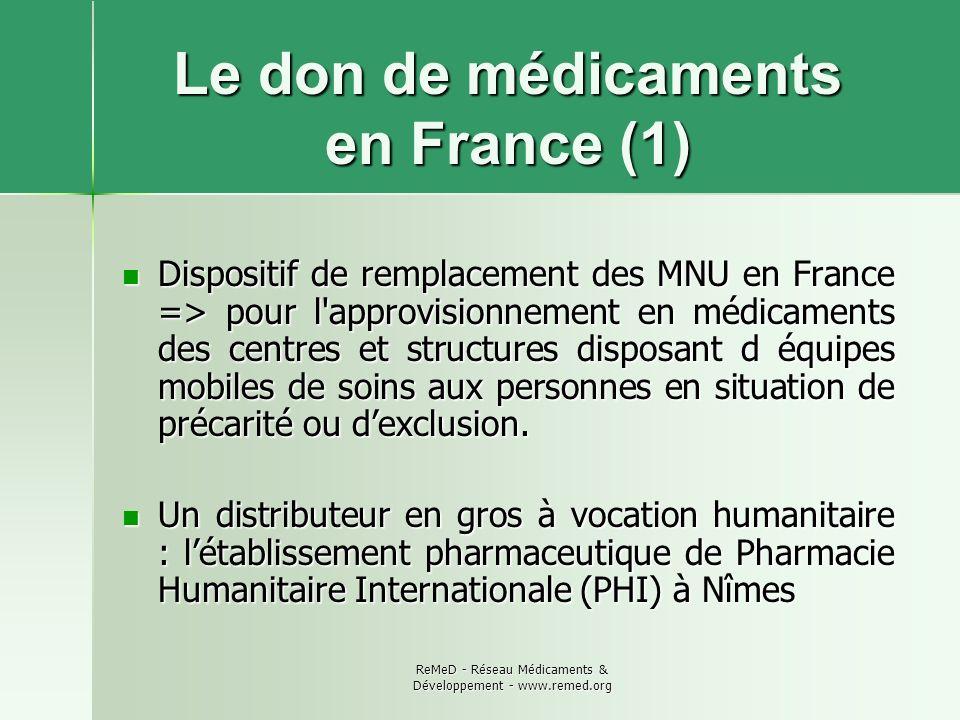 ReMeD - Réseau Médicaments & Développement - www.remed.org Le don de médicaments en France (2) Un financement : en 2009, 3 millions deuros attribués à PHI dans le cadre dune convention avec la CNAM TS.