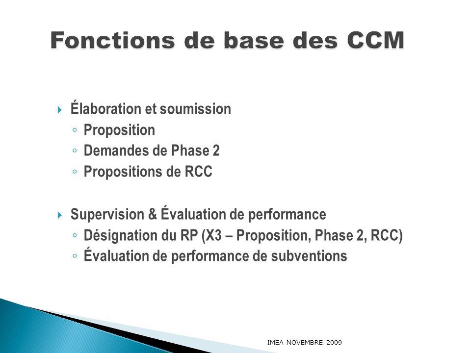 Élaboration et soumission Proposition Demandes de Phase 2 Propositions de RCC Supervision & Évaluation de performance Désignation du RP (X3 – Proposit