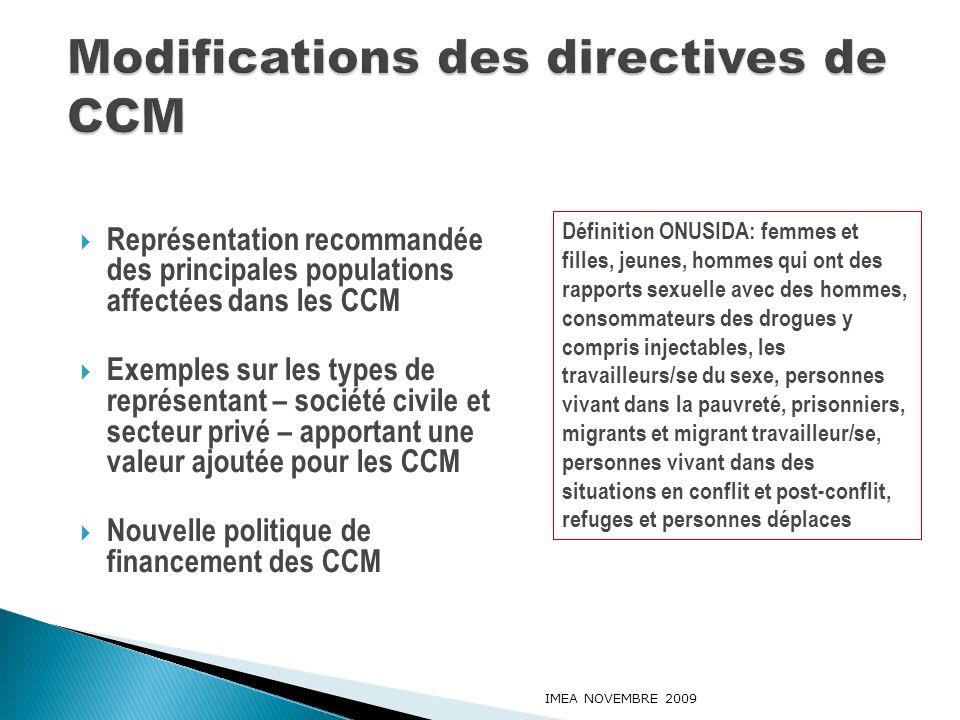Représentation recommandée des principales populations affectées dans les CCM Exemples sur les types de représentant – société civile et secteur privé