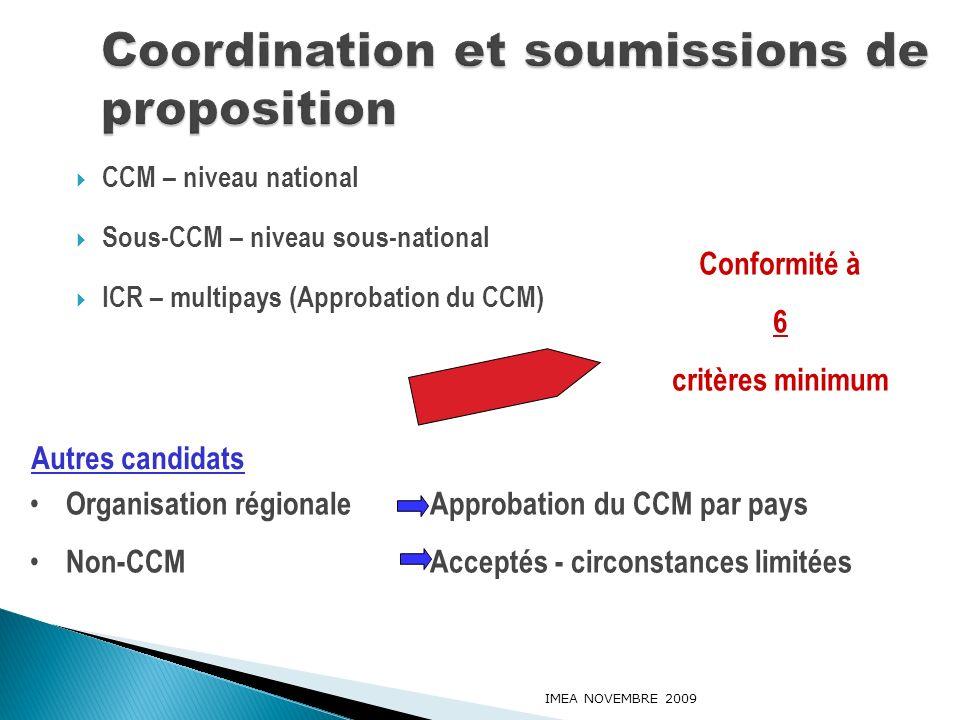 CCM – niveau national Sous-CCM – niveau sous-national ICR – multipays (Approbation du CCM) IMEA NOVEMBRE 2009 Conformité à 6 critères minimum Organisa