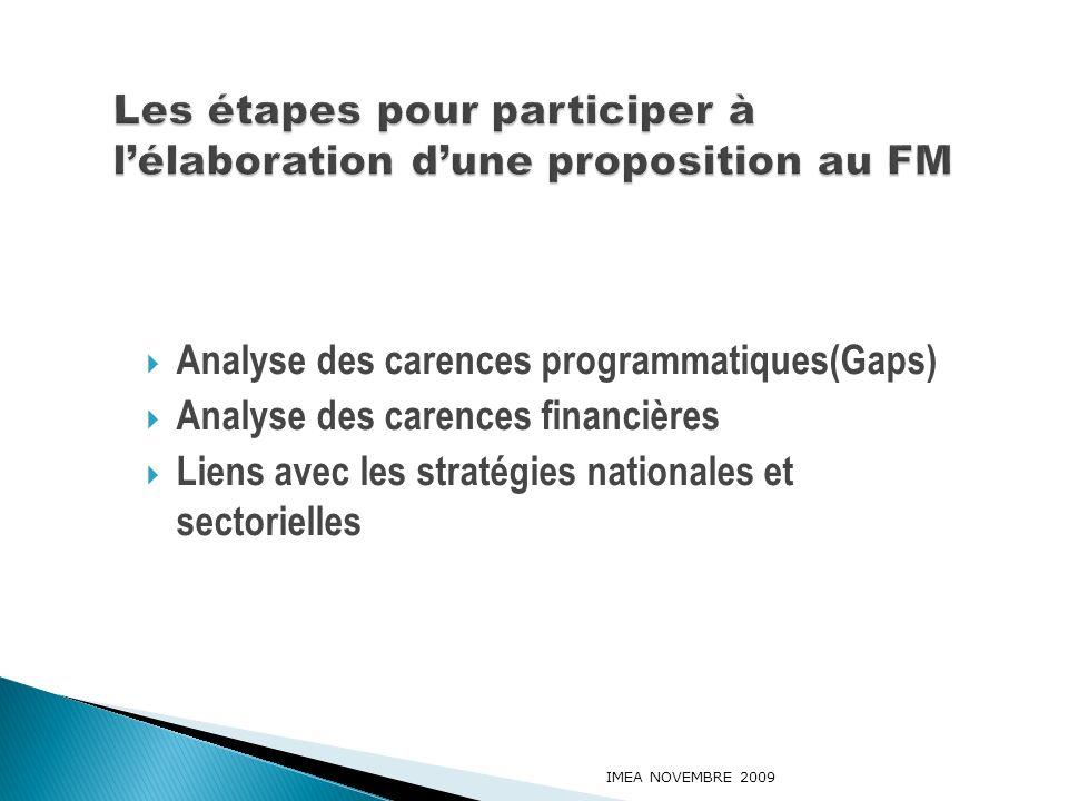 Analyse des carences programmatiques(Gaps) Analyse des carences financières Liens avec les stratégies nationales et sectorielles IMEA NOVEMBRE 2009