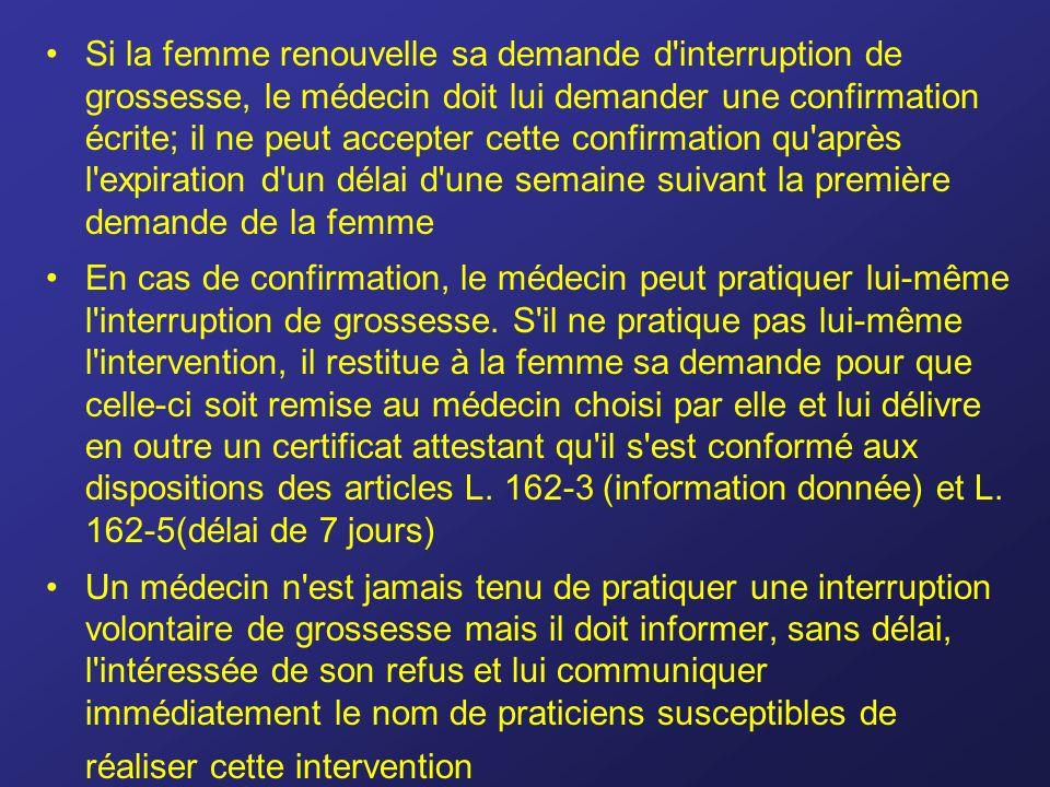 Si la femme renouvelle sa demande d'interruption de grossesse, le médecin doit lui demander une confirmation écrite; il ne peut accepter cette confirm