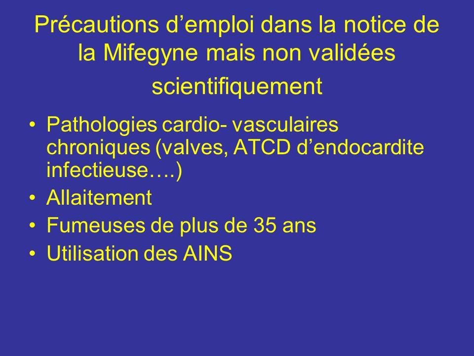Précautions demploi dans la notice de la Mifegyne mais non validées scientifiquement Pathologies cardio- vasculaires chroniques (valves, ATCD dendocar