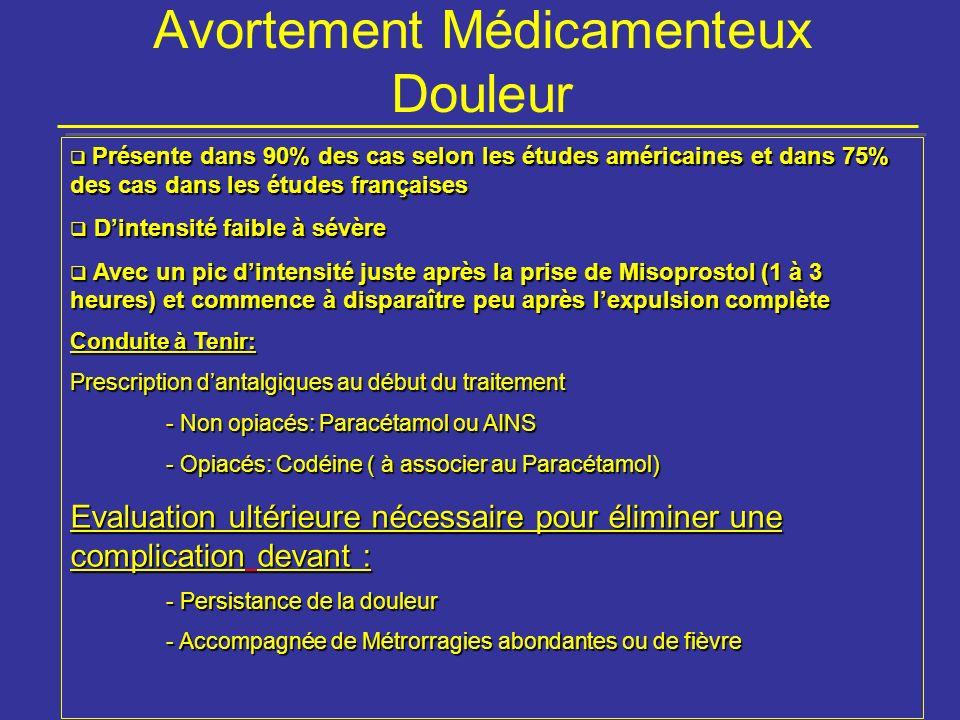 Avortement Médicamenteux Douleur Présente dans 90% des cas selon les études américaines et dans 75% des cas dans les études françaises Présente dans 9