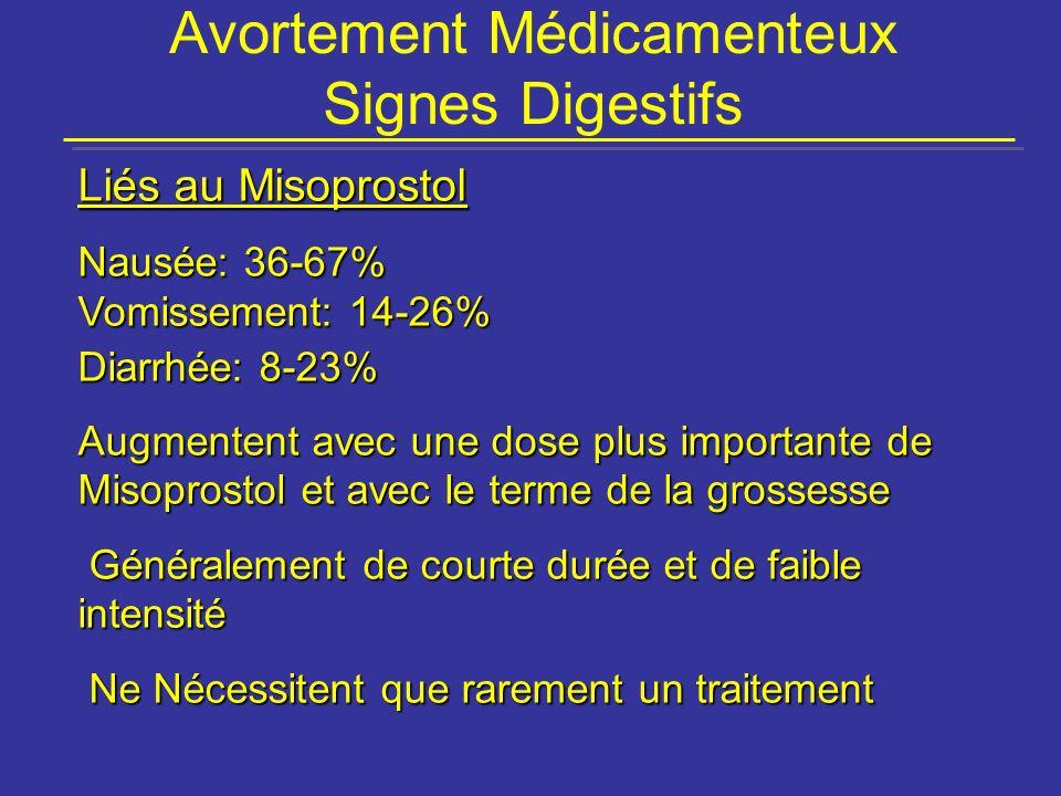 Avortement Médicamenteux Signes Digestifs Liés au Misoprostol Nausée: 36-67% Vomissement: 14-26% Diarrhée: 8-23% Augmentent avec une dose plus importa