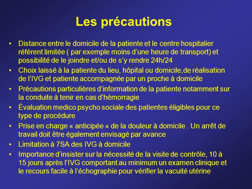 Les précautions Distance entre le domicile de la patiente et le centre hospitalier référent limitée ( par exemple moins dune heure de transport) et po