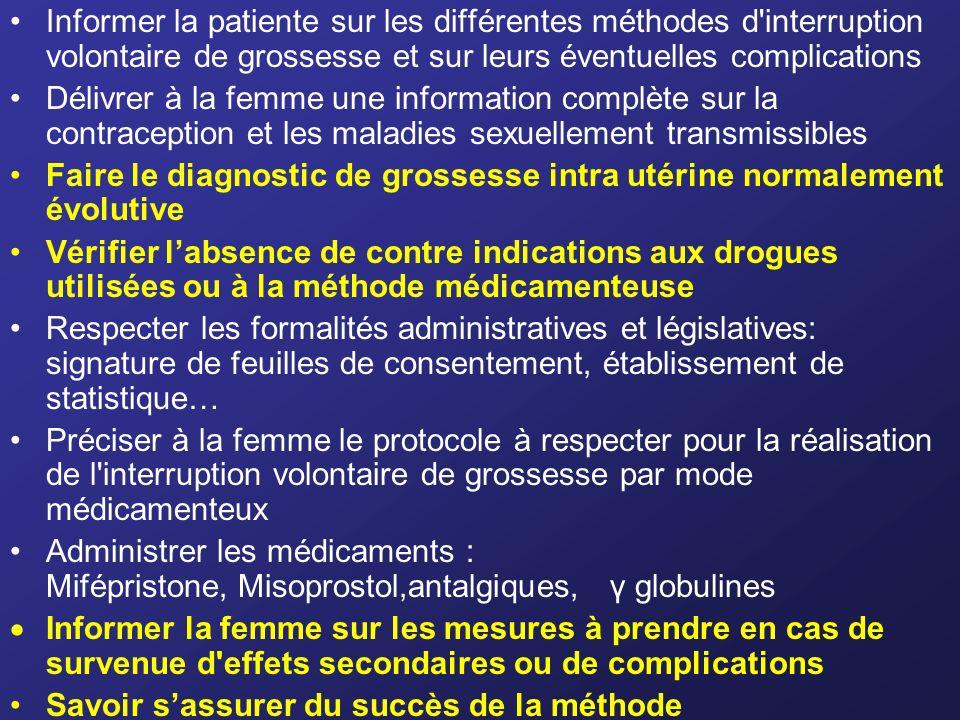 Informer la patiente sur les différentes méthodes d'interruption volontaire de grossesse et sur leurs éventuelles complications Délivrer à la femme un