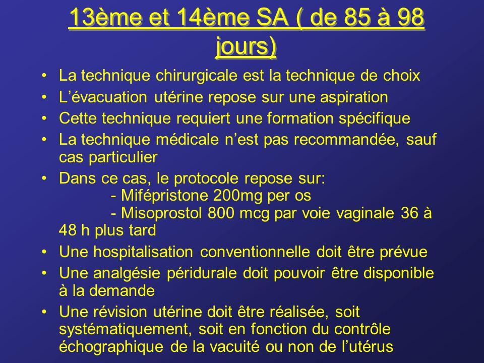 13ème et 14ème SA ( de 85 à 98 jours) La technique chirurgicale est la technique de choix Lévacuation utérine repose sur une aspiration Cette techniqu
