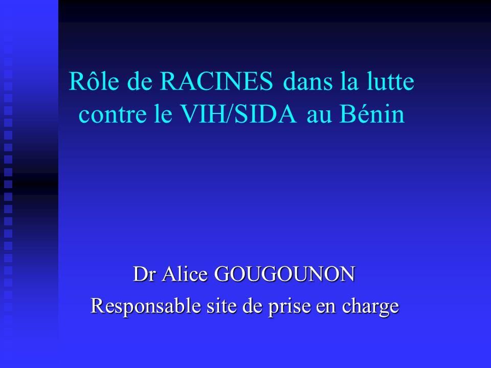 Rôle de RACINES dans la lutte contre le VIH/SIDA au Bénin Dr Alice GOUGOUNON Responsable site de prise en charge