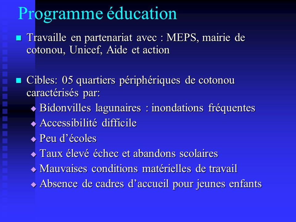 Programme éducation Travaille en partenariat avec : MEPS, mairie de cotonou, Unicef, Aide et action Travaille en partenariat avec : MEPS, mairie de co