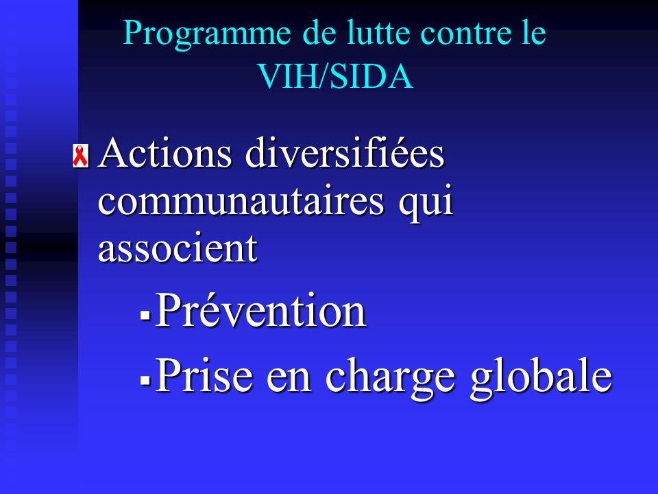 Programme de lutte contre le VIH/SIDA Actions diversifiées communautaires qui associent Prévention Prévention Prise en charge globale Prise en charge