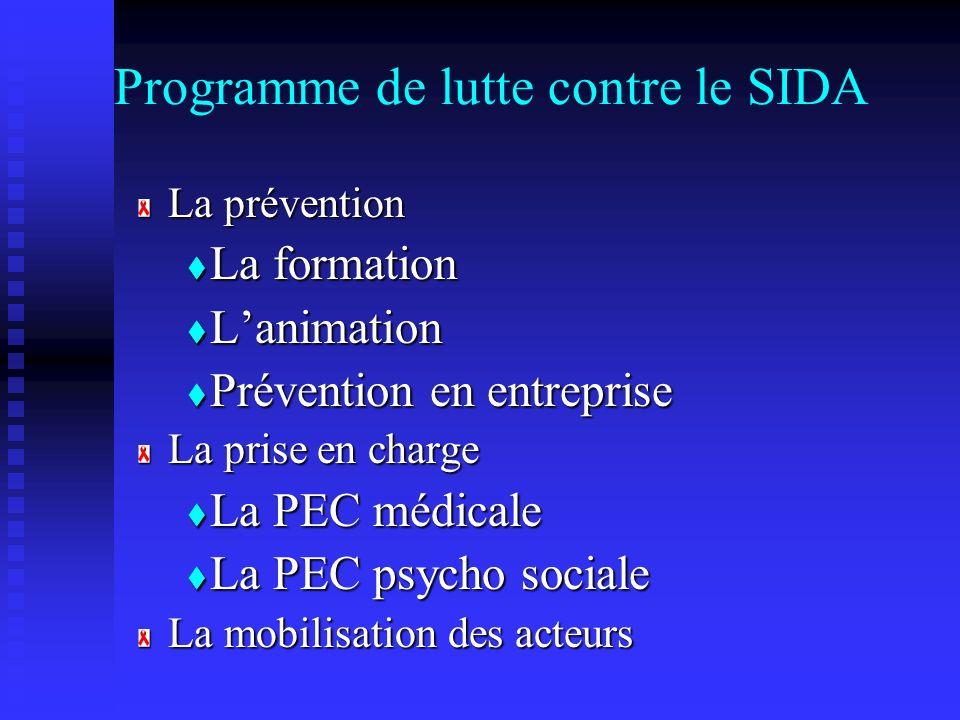 Programme de lutte contre le SIDA La prévention La formation La formation Lanimation Lanimation Prévention en entreprise Prévention en entreprise La p