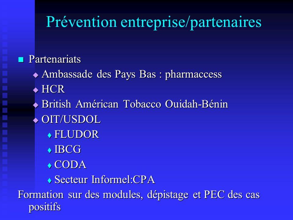 Prévention entreprise/partenaires Partenariats Partenariats Ambassade des Pays Bas : pharmaccess Ambassade des Pays Bas : pharmaccess HCR HCR British