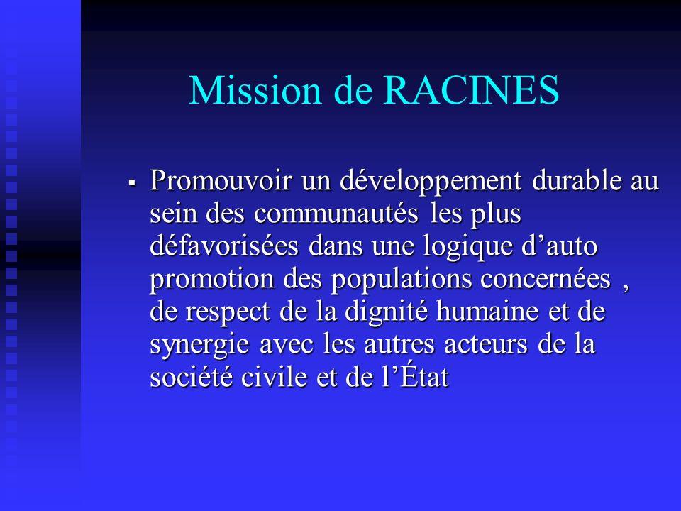 Mission de RACINES Promouvoir un développement durable au sein des communautés les plus défavorisées dans une logique dauto promotion des populations