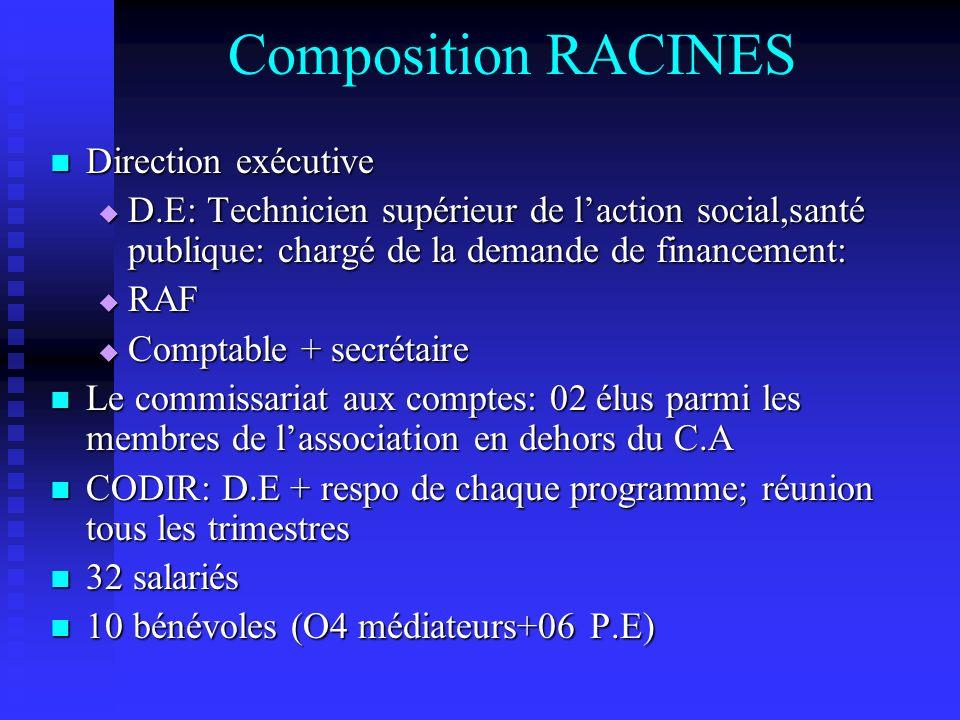 Composition RACINES Direction exécutive Direction exécutive D.E: Technicien supérieur de laction social,santé publique: chargé de la demande de financ