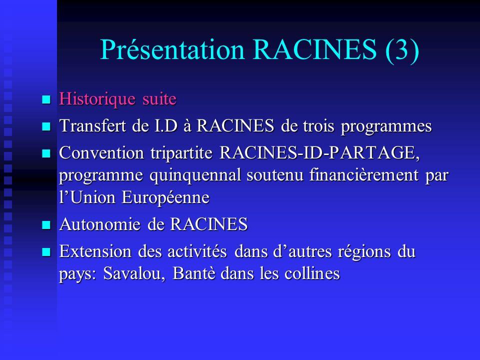 Présentation RACINES (3) Historique suite Historique suite Transfert de I.D à RACINES de trois programmes Transfert de I.D à RACINES de trois programm