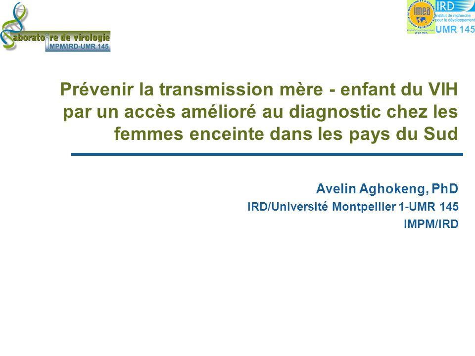 Prévenir la transmission mère - enfant du VIH par un accès amélioré au diagnostic chez les femmes enceinte dans les pays du Sud Avelin Aghokeng, PhD IRD/Université Montpellier 1-UMR 145 IMPM/IRD Avelin Aghokeng, PhD IRD/Université Montpellier 1-UMR 145 IMPM/IRD UMR 145