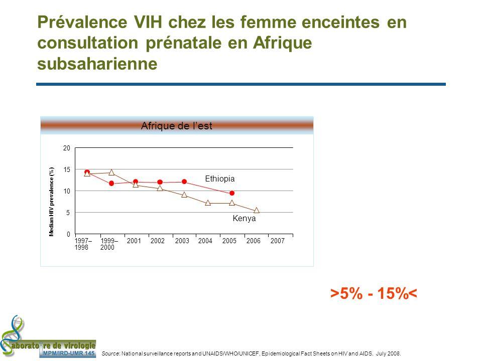 Prévalence VIH chez les femme enceintes en consultation prénatale en Afrique subsaharienne 0 5 10 15 20 Median HIV prevalence (%) Afrique de lest 1997– 1998 1999– 2000 2001200220032004200520062007 Ethiopia Kenya >5% - 15%< Source: National surveillance reports and UNAIDS/WHO/UNICEF, Epidemiological Fact Sheets on HIV and AIDS.