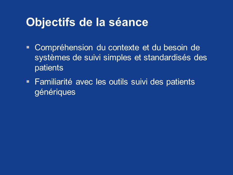 Objectifs de la séance Compréhension du contexte et du besoin de systèmes de suivi simples et standardisés des patients Familiarité avec les outils su