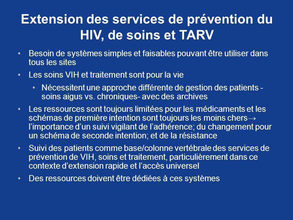 Extension des services de prévention du HIV, de soins et TARV Besoin de systèmes simples et faisables pouvant être utiliser dans tous les sites Les so