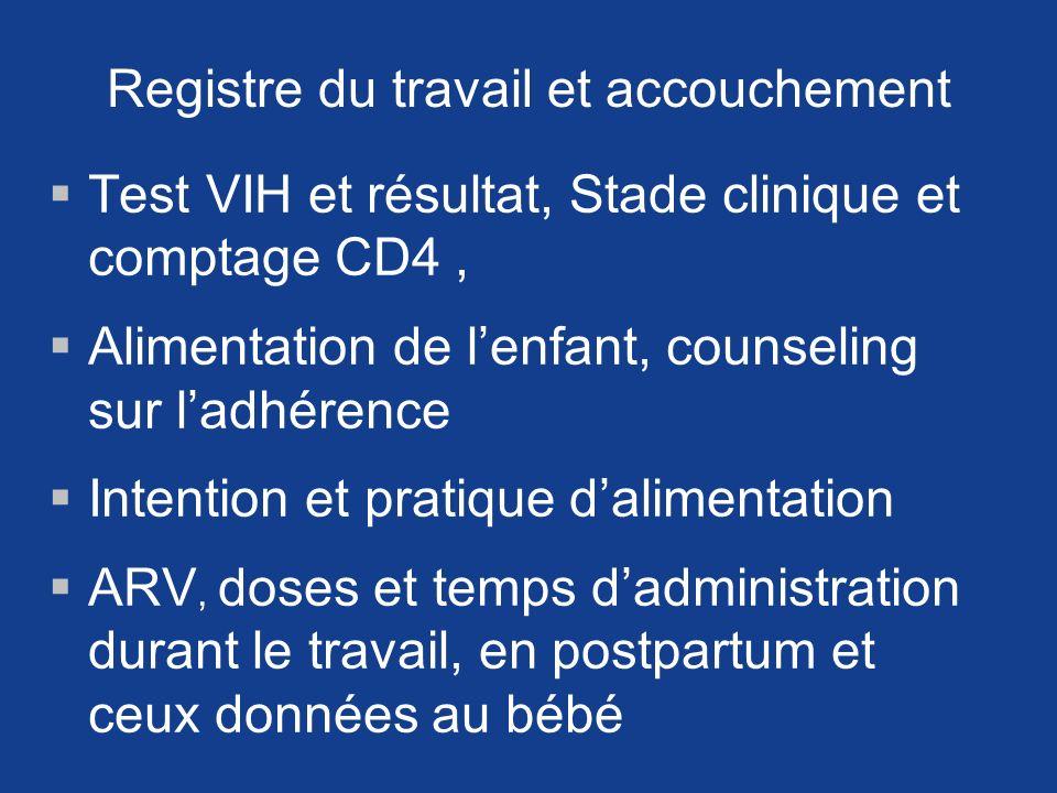 Registre du travail et accouchement Test VIH et résultat, Stade clinique et comptage CD4, Alimentation de lenfant, counseling sur ladhérence Intention