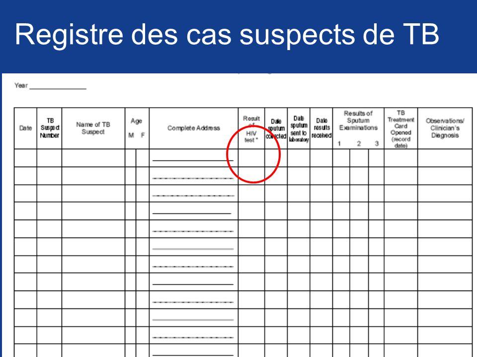 Registre des cas suspects de TB