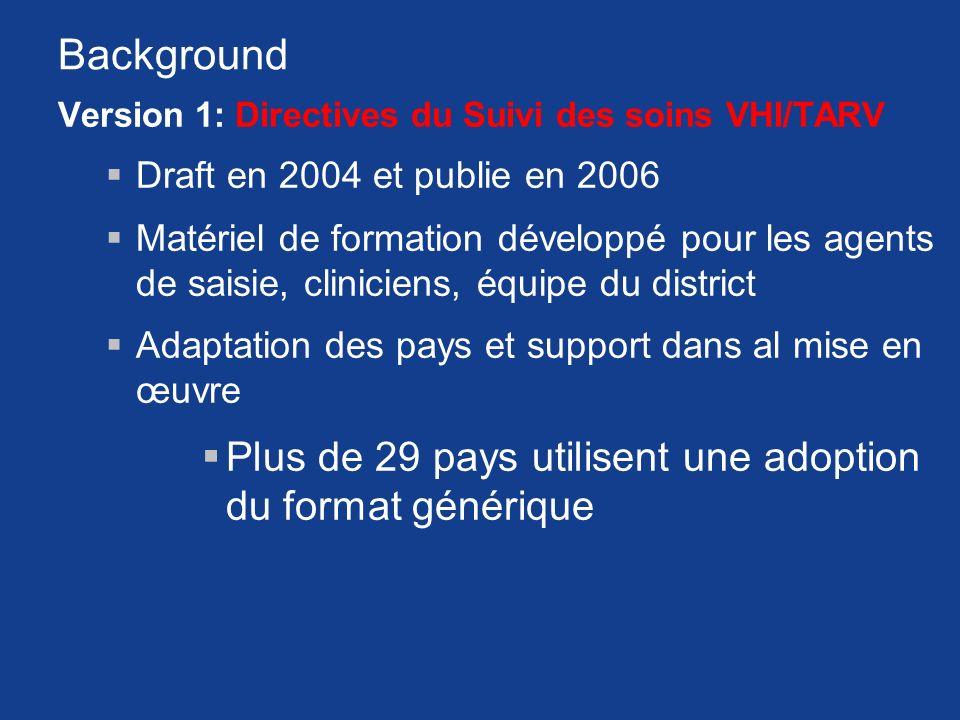 Background Version 1: Directives du Suivi des soins VHI/TARV Draft en 2004 et publie en 2006 Matériel de formation développé pour les agents de saisie