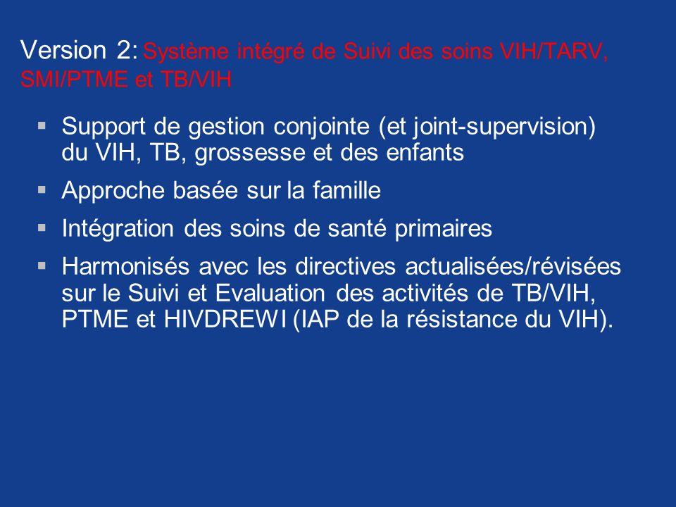 Version 2: Système intégré de Suivi des soins VIH/TARV, SMI/PTME et TB/VIH Support de gestion conjointe (et joint-supervision) du VIH, TB, grossesse e